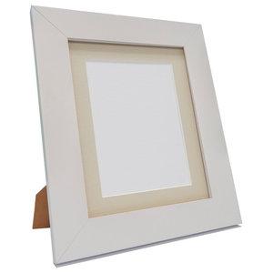 "Brix Frame, White, Light Grey Mount, 6x4"", Image 4.5x2.5"""