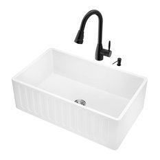 "VIGO Industries - VIGO All-In-One 30"" Matte Stone Farmhouse Kitchen Sink Set - Kitchen Sinks"