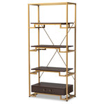 Wholesale Interiors - Cerelia Steel and Dark Brown Finished Wood 3-Shelf Accent Bookcase with Drawer - Showcase all of your favorite books and decorative items with the Cerelia accent bookcase. The glamourous gold-tone steel frame features a sleek step design, adding visual interest to your living room. Three dark wood shelves provide ample space to display decor and plants, while a spacious dark wood drawer offers concealed storage space. Antique gold-tone, embellished metal drawer knobs add a decorative touch. Designed with both style and utility in mind, the bookcase features a criss-cross stretcher on the back for structural support. The Cerelia accent bookcase is made in China and requires assembly.
