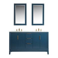"Elizabeth 60"" Double Sink Carrara White Marble Vanity, Monarch Blue"