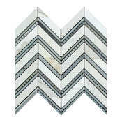 Calacatta Florence Large Chevron Mosaic With Blue-Gray Strips, Honed, 10 SqFt