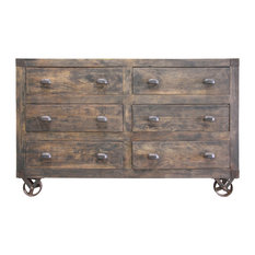 Six Drawer Wooden Chest with Moving Wheels