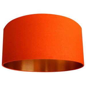 Fabric Lampshade, Tangerine and Brushed Copper, 60x30 cm