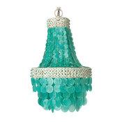 Small Manor Capiz Seashell Chandelier, Turquoise