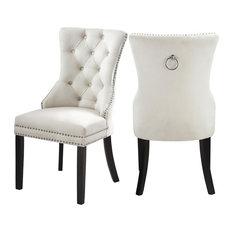 Nikki Velvet Dining Chairs, Set of 2, Cream