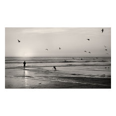 Sunset at San Clemente Beach California Fine Art Black & White Photography, 20x3