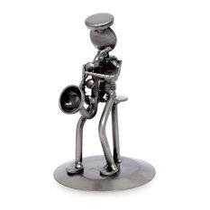 Rustic Saxophonist Auto Part Sculpture