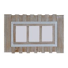 Beach Driftwood Effect Wall Mounted 3-Aperture Photo Frame, 34x51 cm