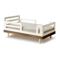 Classic Toddler Bed, Walnut and White