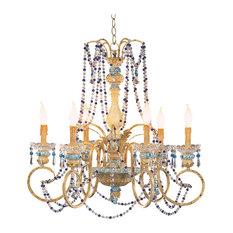 Chanteuse Ok Lighting Candle Design Chandelier Blue Chandeliers 4sqatlcom Blue Beaded Chandeliers Houzz