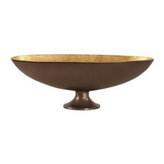 "Howard Elliott Bronze Footed Bowl With Oblong Gold Luster Inside, 18""x6"""
