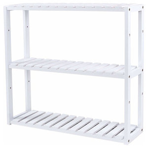 Storage Stand, Bamboo Wood With 3 Open Shelves for Extra Storage, White