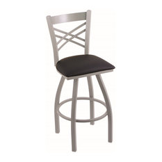 "Catalina 30"" Swivel Bar Stool, Anodized Nickel Finish, Black Vinyl Seat"