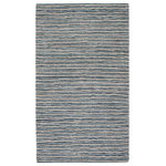 "Anji Mountain - Pearl Street Rug, 5'x7' - Upcycled leather, soft jersey cotton and natural jute combine to create a sumptuous-feeling rug with a dynamic, one-of-a-kind aesthetic. This striped pattern of the Pearl Street Rug features jute's natural tans and golds, fluffy white cotton and leather in smoky blues. Exceptionally durable, this rug plays well with heavy traffic and suits a wide range of decor styles. Feel good about your rug selection knowing this handwoven piece was created with eco-friendly materials by expert artisans working under GoodWeave ethical labor conditions. Note: It is normal for natural fiber rugs to ""sprout"" — what may seem to be a pulled thread is really just a yarn whose fibers have sprouted. This is not a defect but an inherent quality of certain natural fiber rugs. Simply clip the sprout that has popped up with sharp scissors."