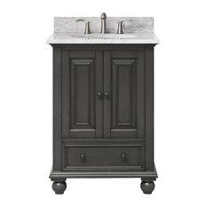 "Avanity Corp - Avanity Thompson 25"" Vanity in Charcoal Glaze finish, Carrera White Marble Top - Bathroom Vanities and Sink Consoles"