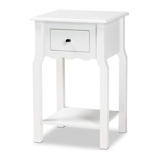Unique Nightstand Scalloped Drawer With Elegant Silver Knob White