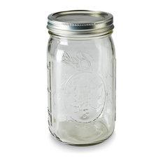 Clear Mason Jars, Set of 6, Widemouth, Quart