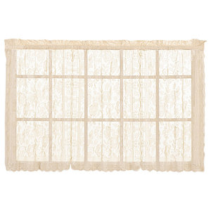 """United Curtain Co. Windsor 56""""x24"""" Kitchen Tier Pair, Natural"""