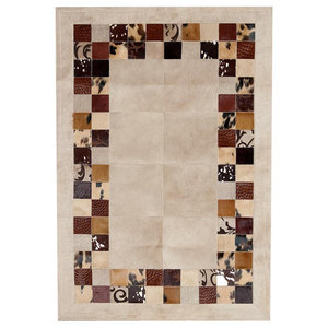 Patchwork Leather Cubed Cowhide SR4 Rug, Beige and Brown, 200x300 cm
