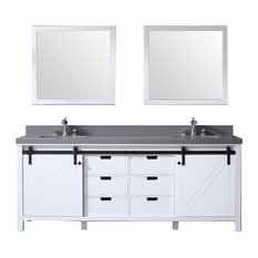 "84"" Double Vanity White, Gray Quartz Top, White Sinks, 34"" Mirrors"
