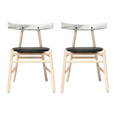 Ronin Marble Dining Chairs, Set of 2, Natural Ash and White Marble