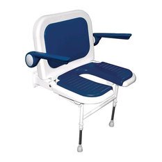 Deluxe Wide U-Shaped seat With Back and Arms, Blue