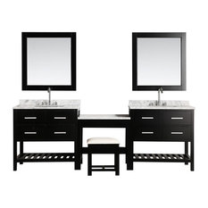 "Two London 36"" Single Sink Vanity Set With Make-Up Table, Espresso"