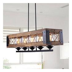 Rustic Wood Kitchen Island Lighting 5-Light
