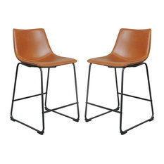 Logan Faux Leather Counter Stools, Tan, Set of 2