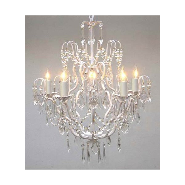 Wrought Iron and Crystal Chandelier, White
