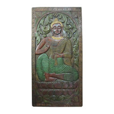 "Mogul Interior - Consigned Indian Door Panel Dharmachakra Gandhara Buddha 72"" X 36"" - Wall Decor"