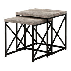 40.5-inch Particle Board And Black Metal Two Pieces Nesting Table Set Taupeblack by HomeRoots