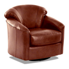Avenue 405 Charley Leather Swivel Gliding Accent Chair, Chestnut