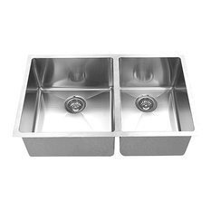 "Hand-Made R15 60/40 Double Bowl 32""x19"" Undermount 304 Sink"