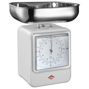 Wesco Retro Scales With Clock, White