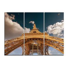 """Beautiful View Paris Eiffel Tower Under Dark Sky"" Wall Art, 3 Panels, 36""x28"""