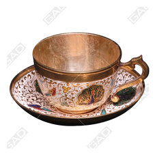 - EXOTIC BRASS CUP & SAUCER - Tea Cups