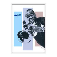 """Louis Armstrong"" Art Print, White Frame, 84x124 cm"
