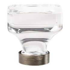 """Glacio 1-3/8"""" (35mm) Diameter Clear/Gunmetal Square Cabinet Knob"""
