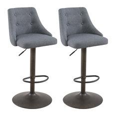 Set of 2, Tufted Upholstered Adjustable Swivel Stool, Gray