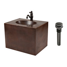 Premier Copper Products 24 Hand Hammered Wall Mount Vanity And Faucet Package
