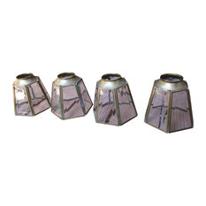 Vintage-Style MCM Brass Glass Hexagon Chandelier Light Covers, Set of 4