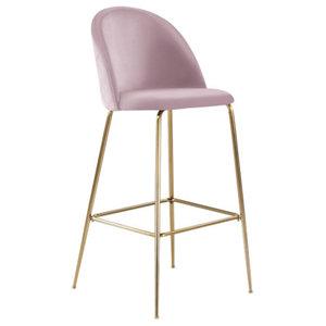 Millennial Brass Velvet Upholstered Dining Bar Stooll, Blush Pink, 65 cm