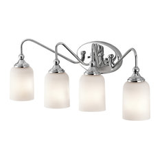 Chrome And Satin Etched Glass 4 Light Bath Wall Fixture