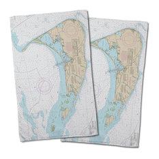 Nantucket, Ma Nautical Chart Hand Towel, Set Of 2