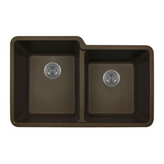 Polaris P108M Mocha Double Offset Bowl Granite Sink
