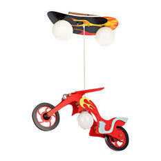 ParrotUncle - 3 Lights Cool Glass Shade Pendant Light in Red Wooden  Motorbike Shape - Kids