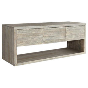 Rubberwood Wall-Mounted Bathroom Vanity Unit, 150 cm