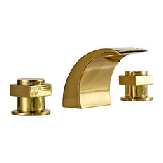 Fontana Showers   Campinas Gold Polished LED Waterfall Bathroom Sink Faucet    Bathroom Sink Faucets