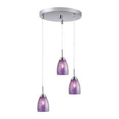 Venezia 3-Light Pendant, Satin Nickel, Purple Mosaic Glass